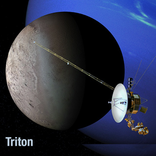 Artist's rendering of Voyager 2 and Triton