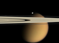 Cassini image of Saturn's moon Titan, the rings and a ring moon