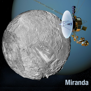 Artist's rendering of Voyager 2 and Miranda