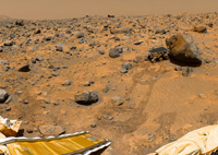 Color panorama of the Pathfinder landing site, including the rover