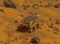 "Mars Pathfinder rover, 30 martian days (or ""sols"") into its planned seven-day mission."