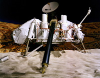 Photograph of a full-scale Viking lander model.