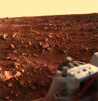 Color image of the Martian surface taken by the Viking 1 lander 15 minutes before sunset.
