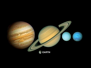 Color montage of five planets - Jupiter, Saturn, Uranus, Neptune and Earth.