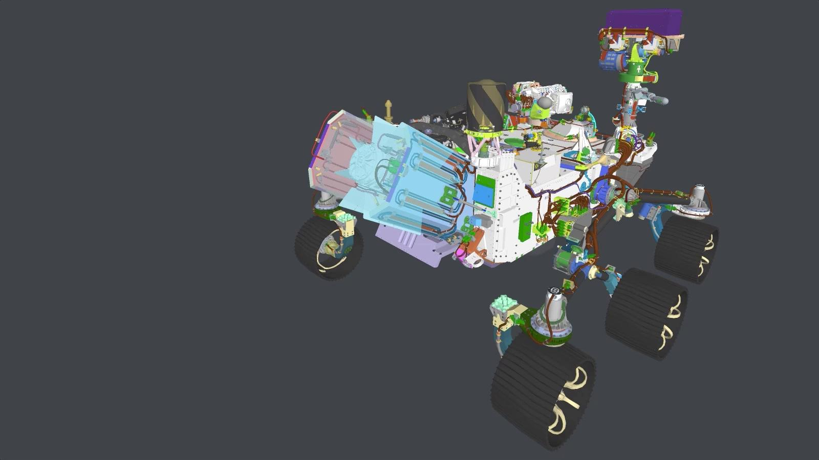 slide 1 - 3D view of Mars Perseverance rover