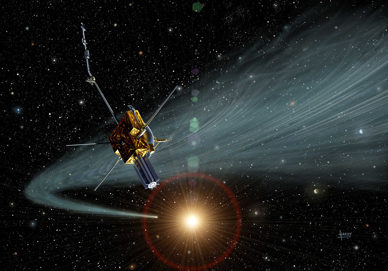 Illustration showing Ulysses passing through the tail of a comet.