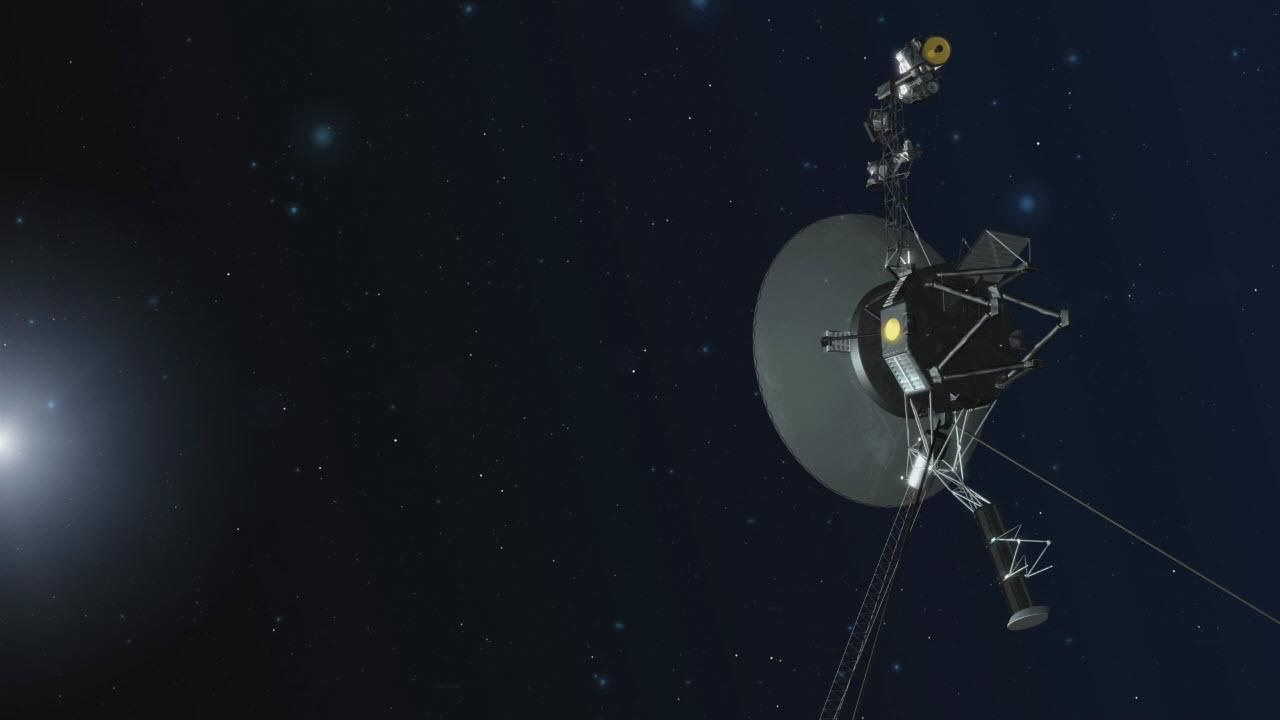 Illustration of Voyager spacecraft far from the sun.