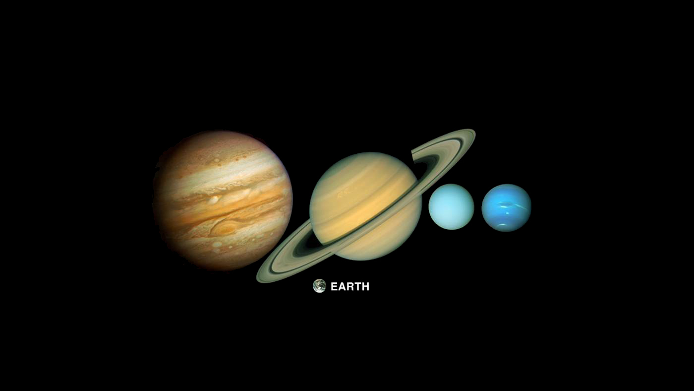 Color montage showing five planes, Jupiter, Saturn, Uranus, Neptune and Earth.