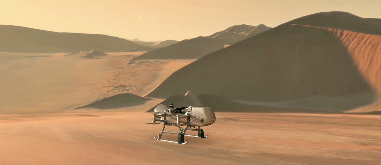 Artist's rendition of NASA's Dragonfly rotorcraft-lander approaching a site on Saturn's exotic moon, Titan.