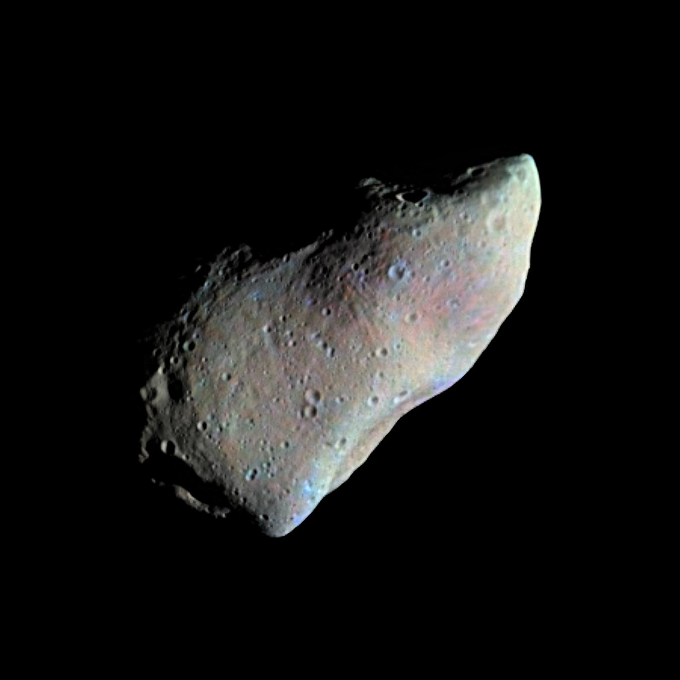 Picture of asteroid Gaspra as a mosaic of two images