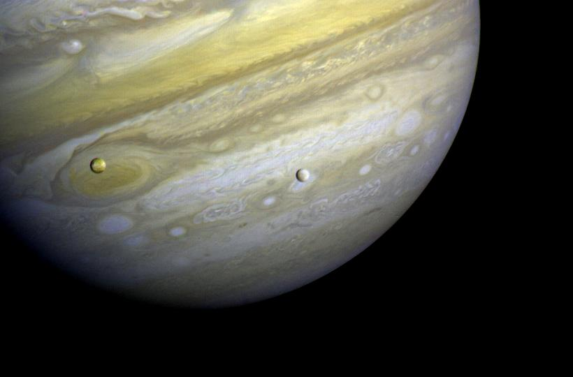 Photo of Jupiter and two of its satellites