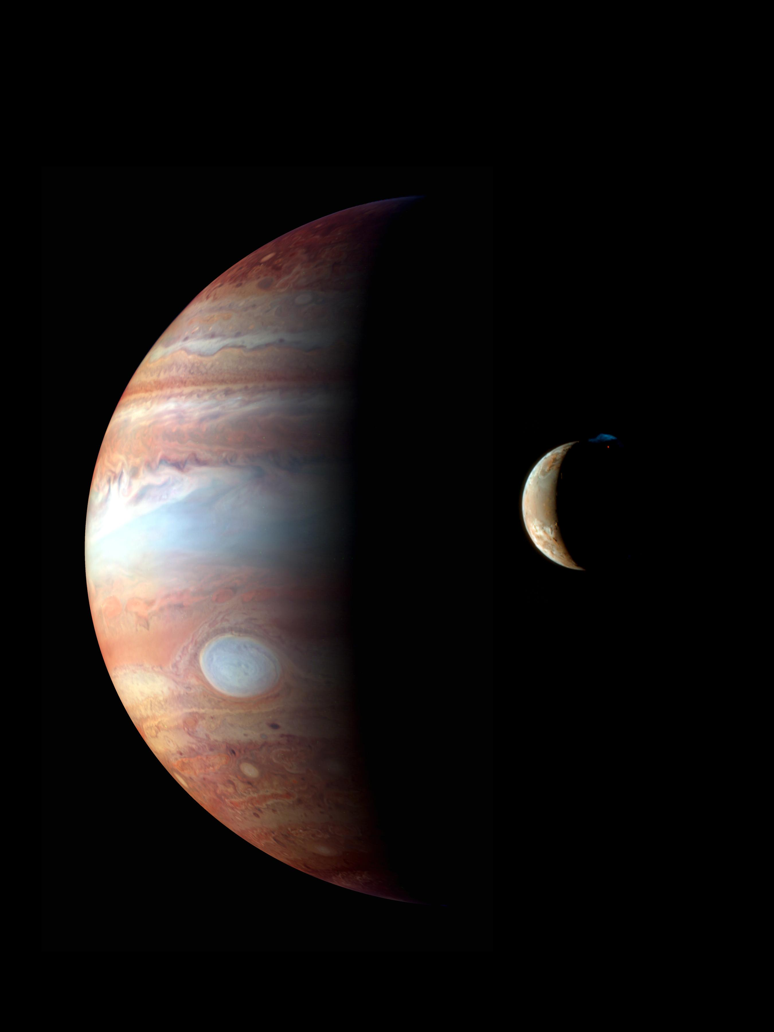 A montage of New Horizons images of Jupiter and its volcanic moon Io