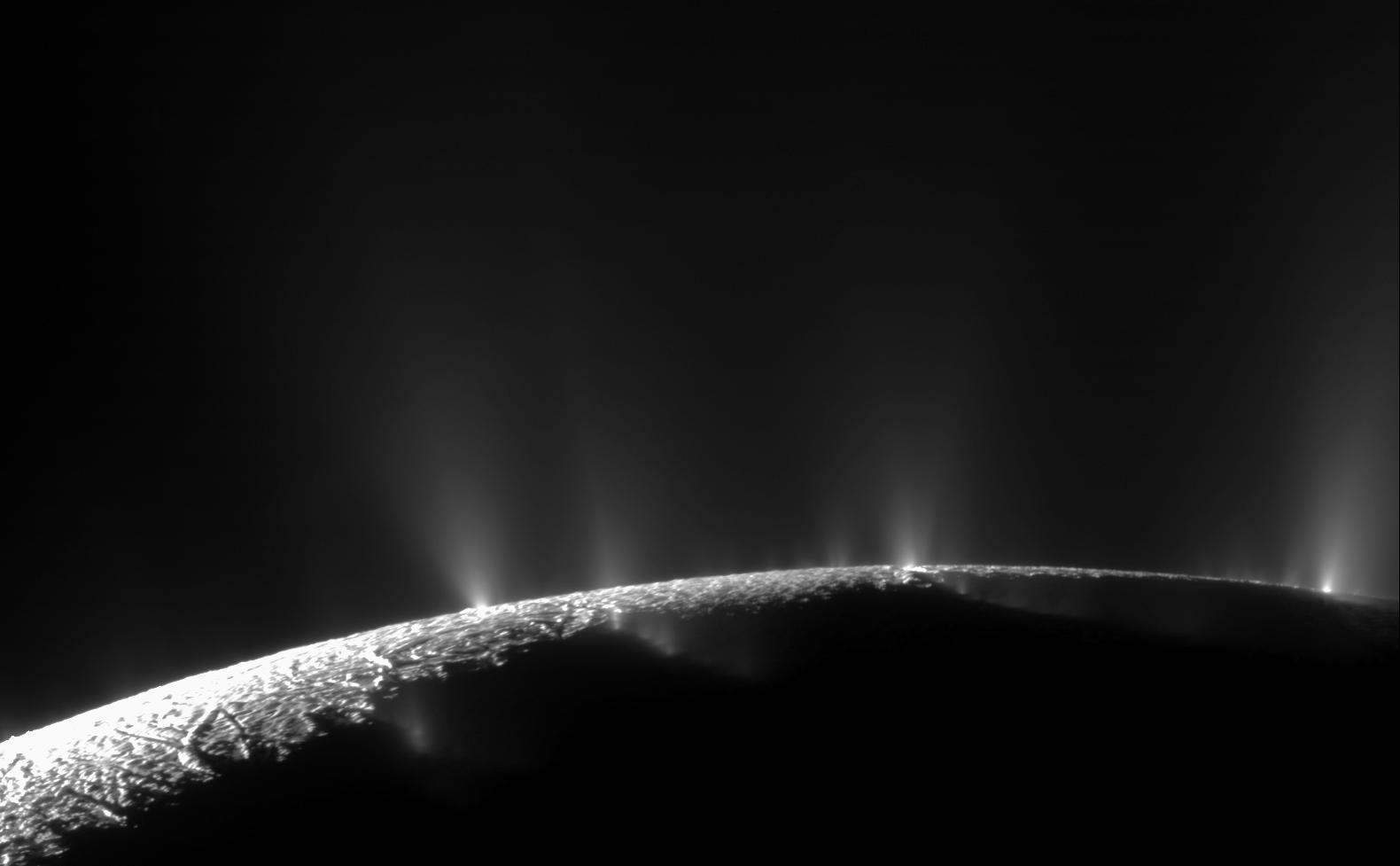 A mosaic was created from two high-resolution images that were captured by the narrow-angle camera when NASA's Cassini spacecraft flew past Enceladus