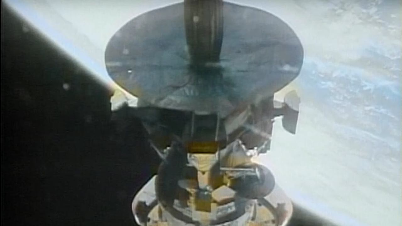 Video showing launch of space shuttle and deployment of the Galileo orbiter in Earth orbit.