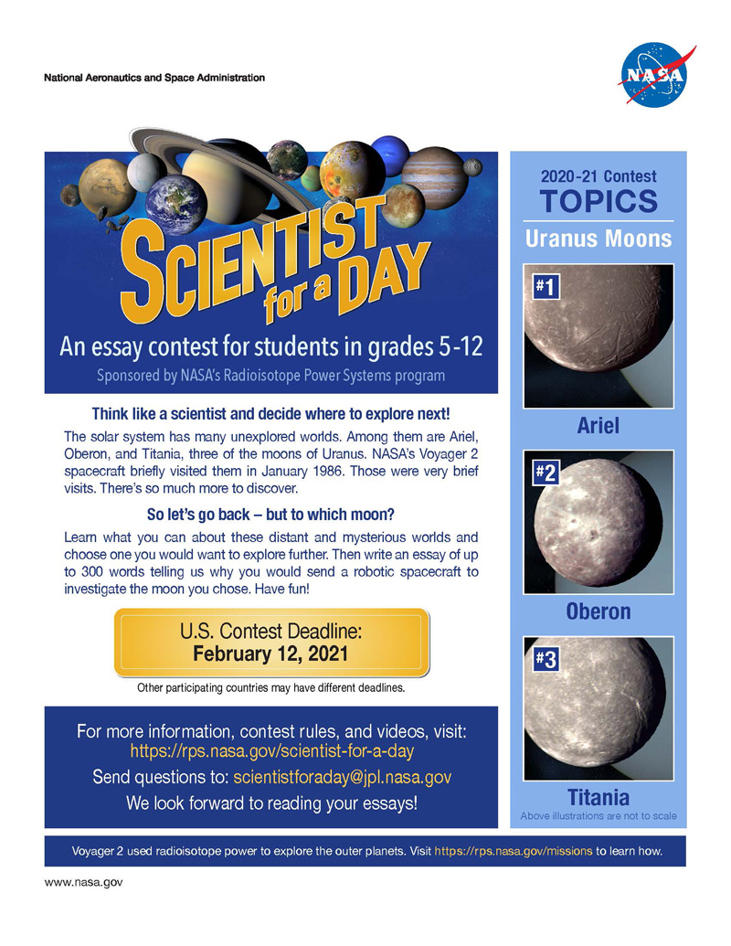 Flyer for the Scientist for a Day essay contest 2020-2021