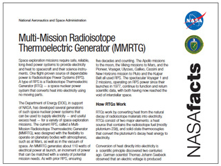 Fact Sheets Resources Nasa Radioisotope Power Systems